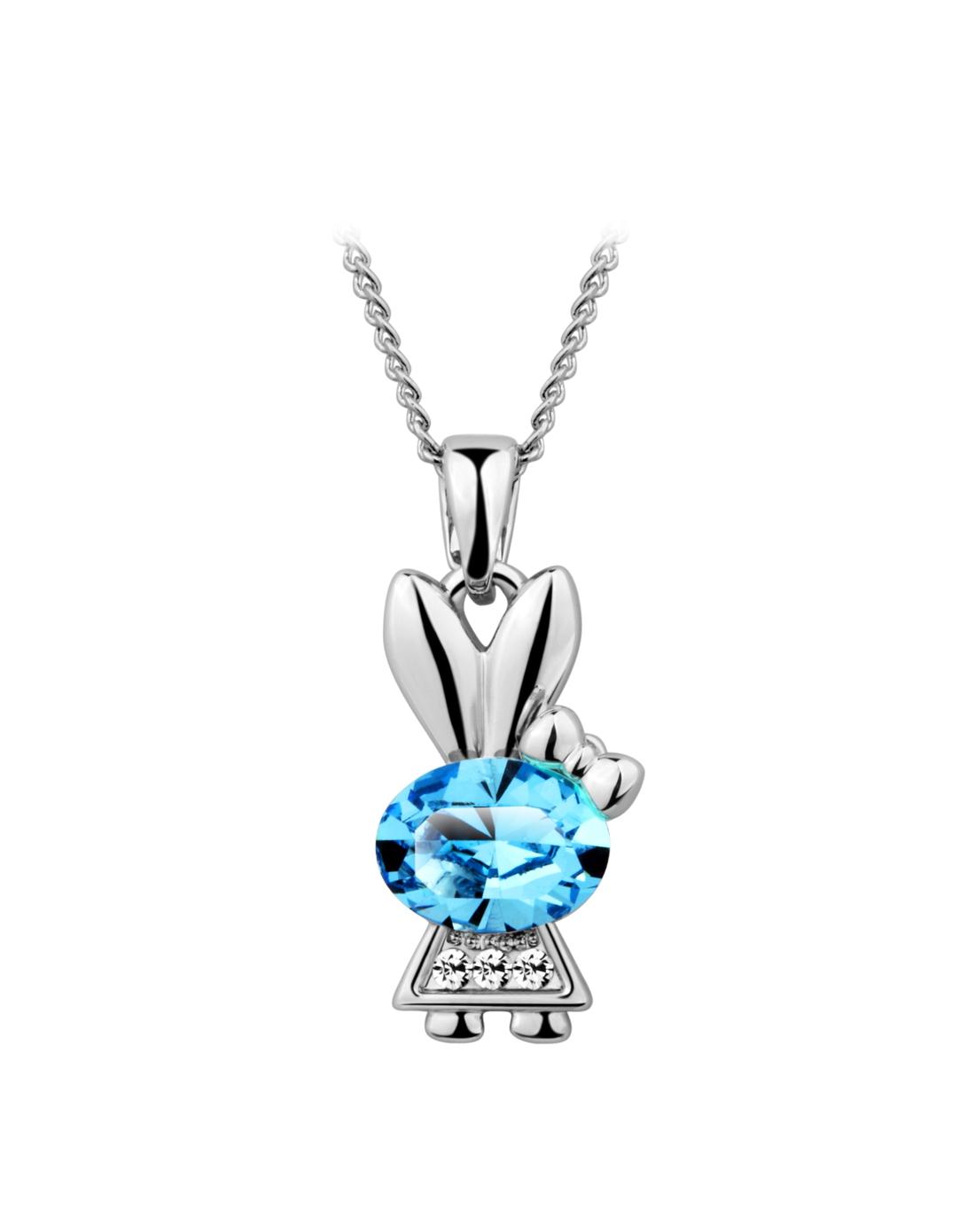 采用施华洛斯奇水晶可爱公主兔儿项链