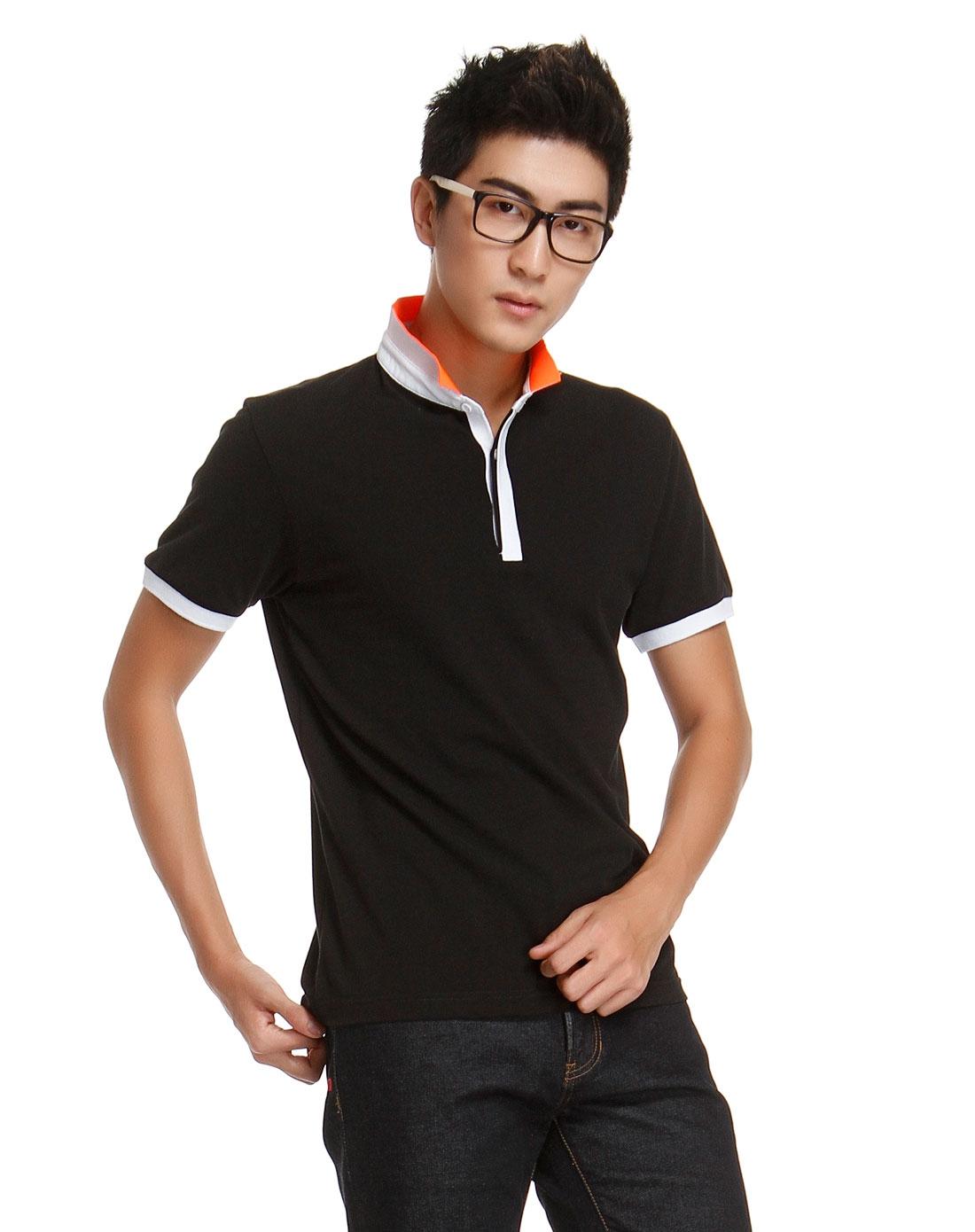 男士黑色修身短袖t恤