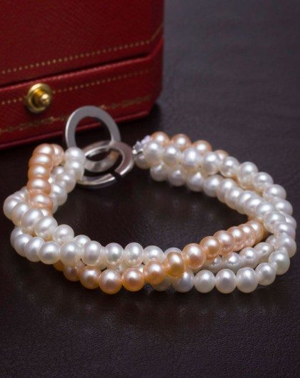 彩色双圈三排手链天然珍珠-时尚-附国检证书