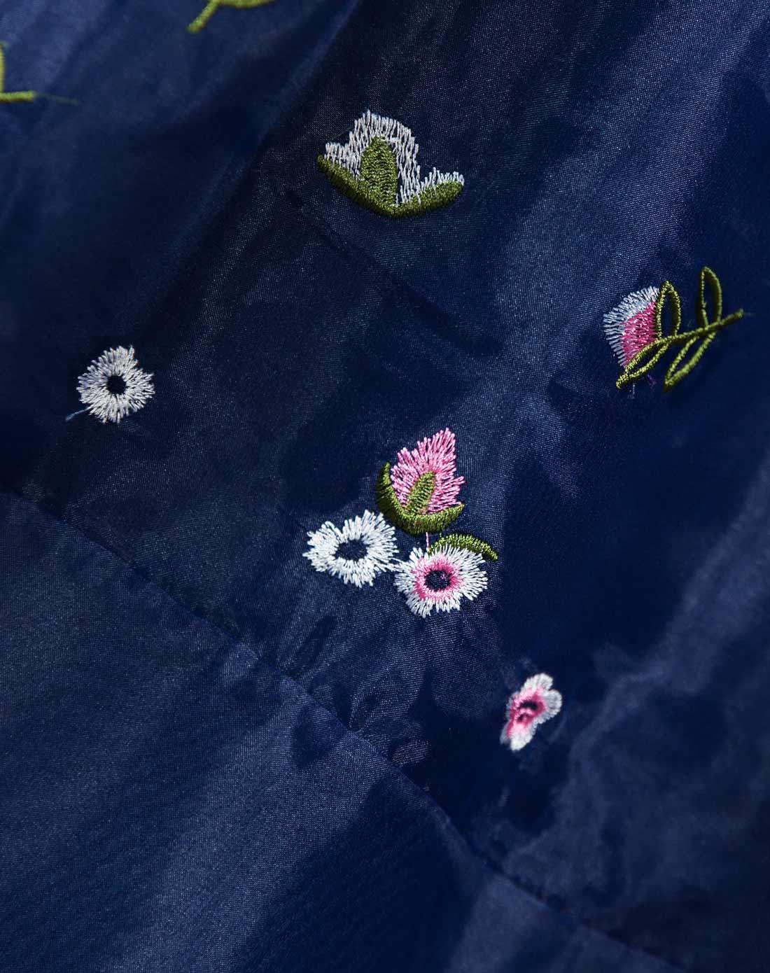 lux蓝色田园风刺绣碎花无袖连衣裙01455bl01