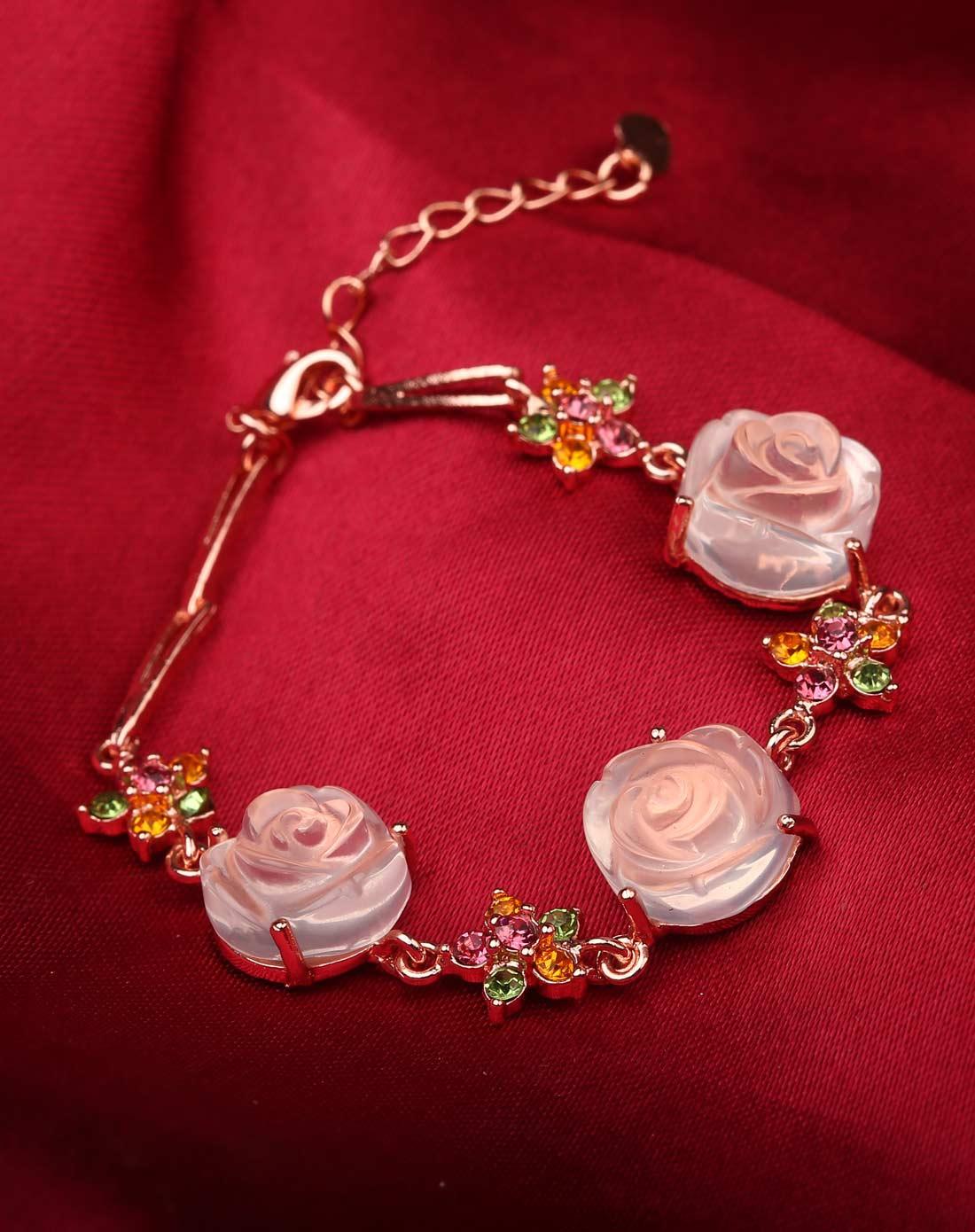 天然粉水晶玫瑰花镶嵌手链