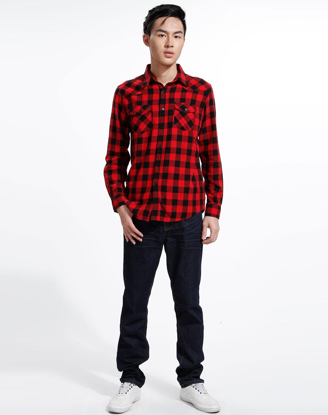 红色格子休闲长袖衬衫