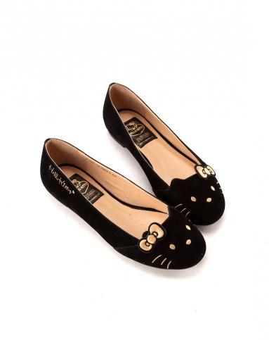 gracegift2014春夏新款黑色蝴蝶结绒面经典猫脸单鞋平底娃娃鞋