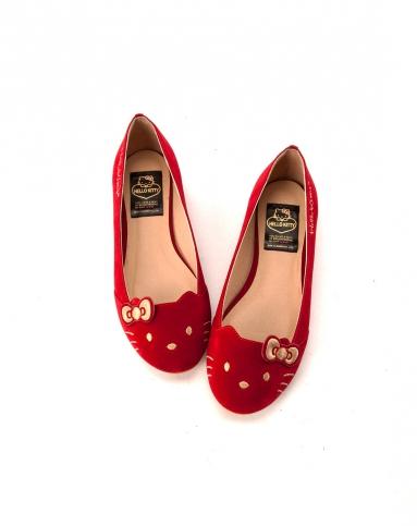 gracegift2014春夏新款大红色蝴蝶结绒面经典猫脸单鞋平底娃娃鞋