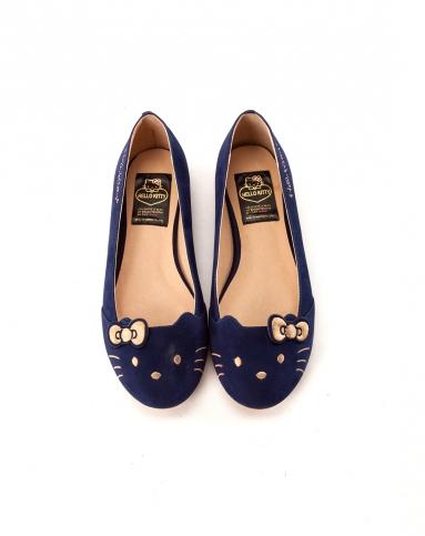 gracegift2014春夏新款深蓝色蝴蝶结绒面经典猫脸单鞋平底娃娃鞋