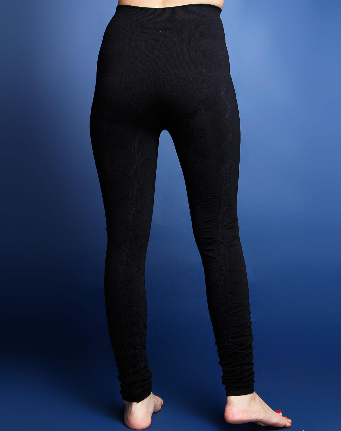 依雪妮专场黑色时尚无缝九分打底裤a2280417黑色