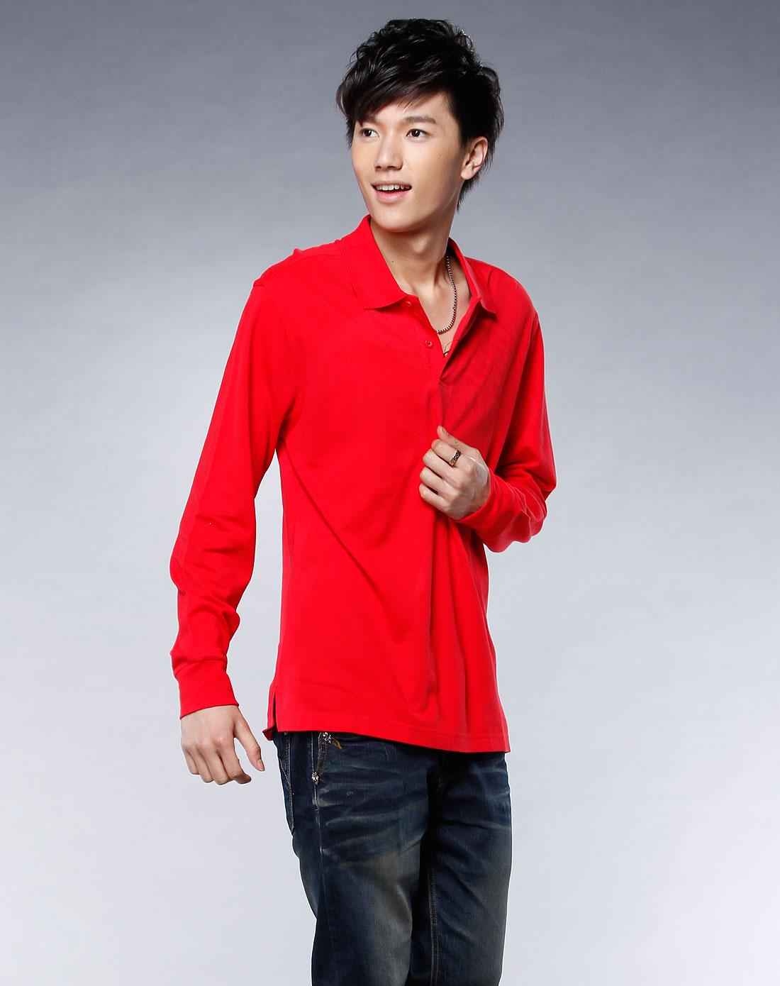 大红色翻领长袖t恤