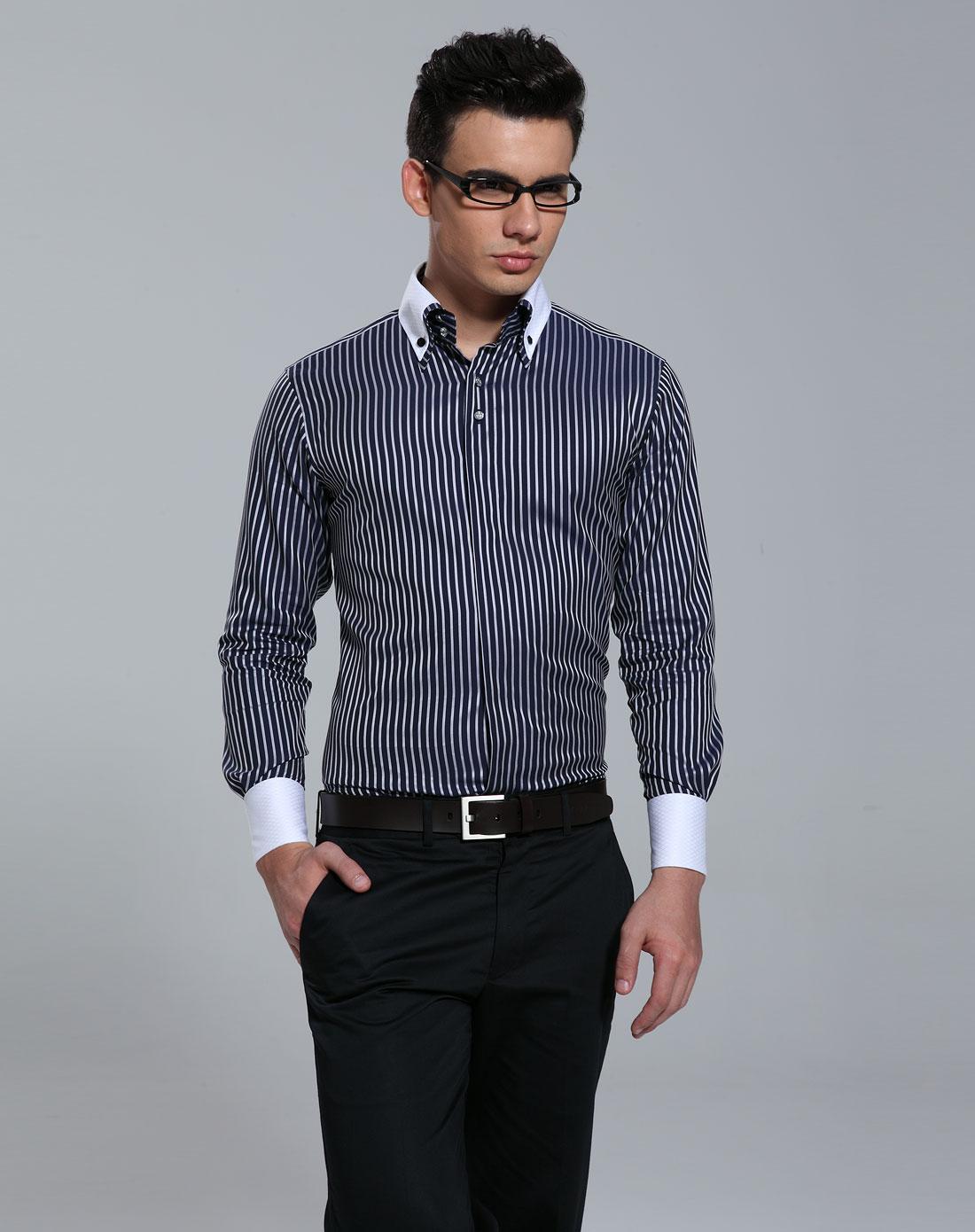 男款深蓝条纹纯棉长袖衬衫