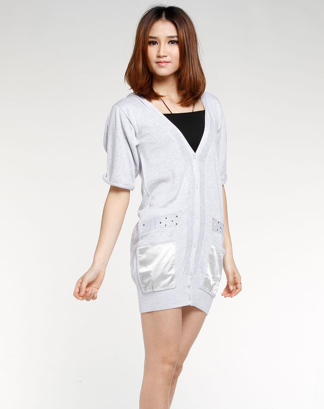 播�_播broadcast女装专场-灰色短袖连帽时尚上衣