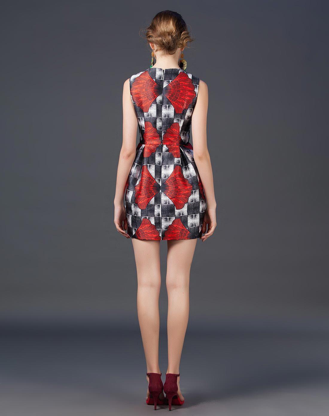 红色银杏叶子印花格子连衣裙