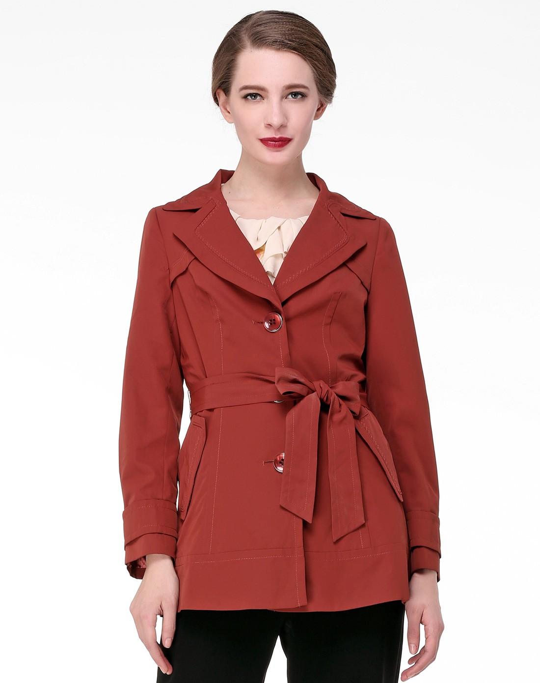 锈红色女士优雅风衣上衣