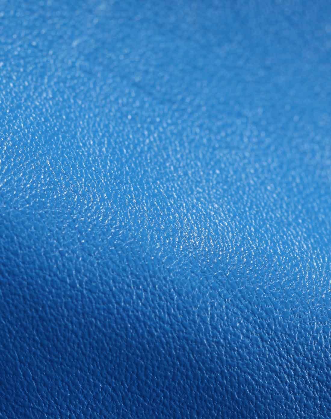 简约深蓝色长袖短身皮衣