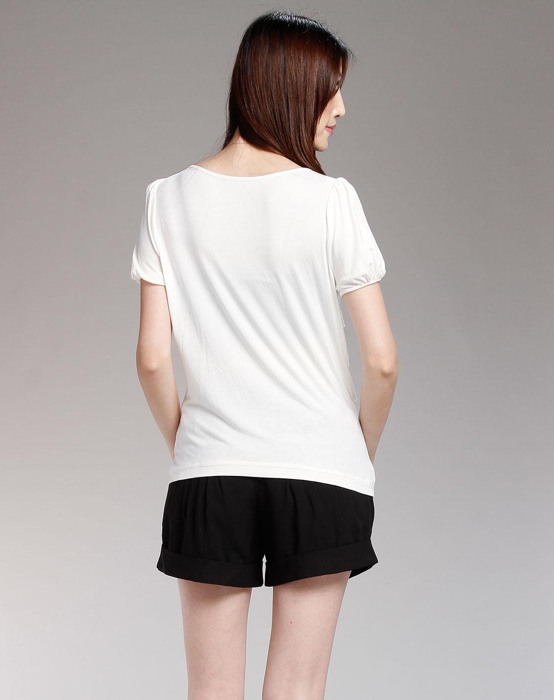 白色休闲短袖t恤