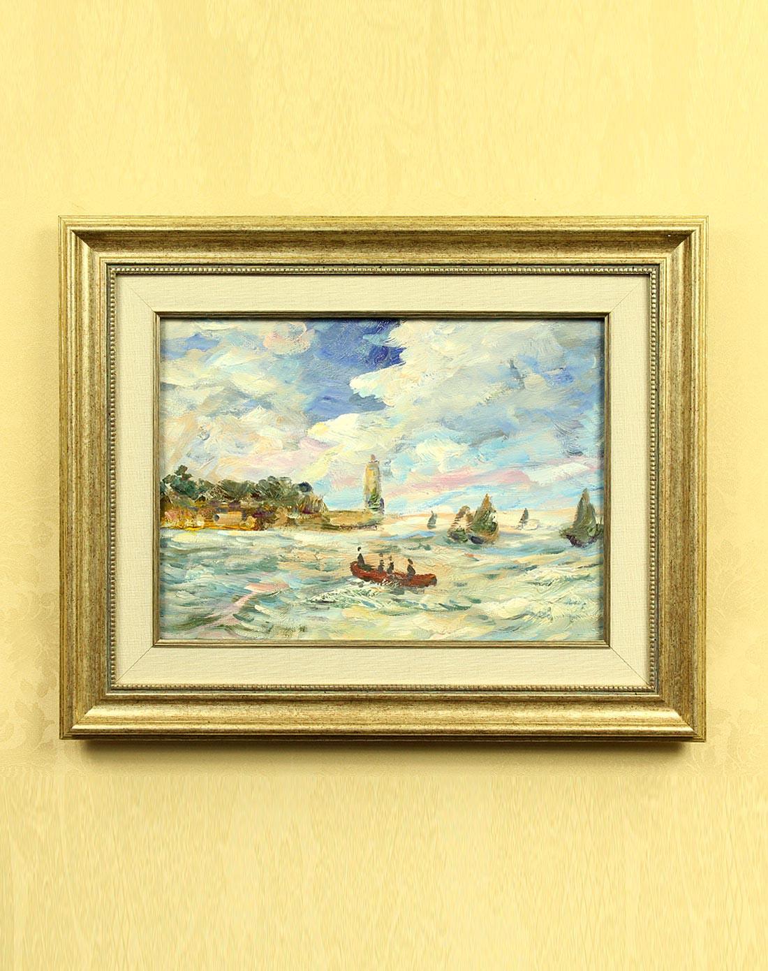 琪特qite纯手绘油画海上小船yh-1038yh-1038