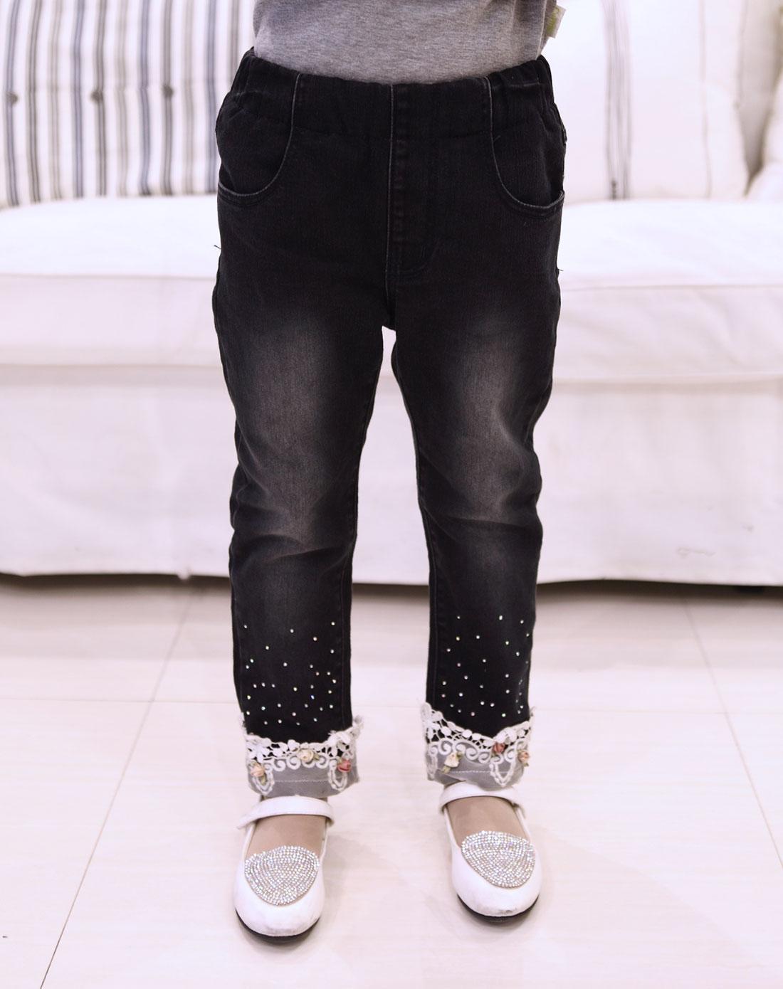 女童黑色牛仔裤
