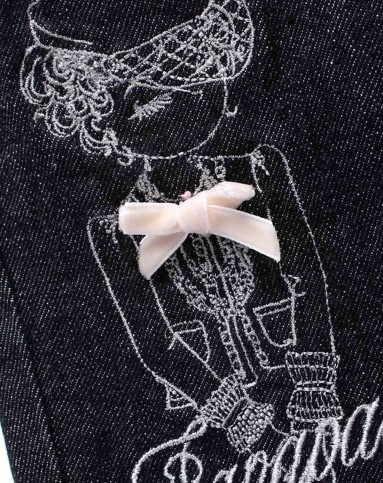 女童黑色粉线牛仔裤