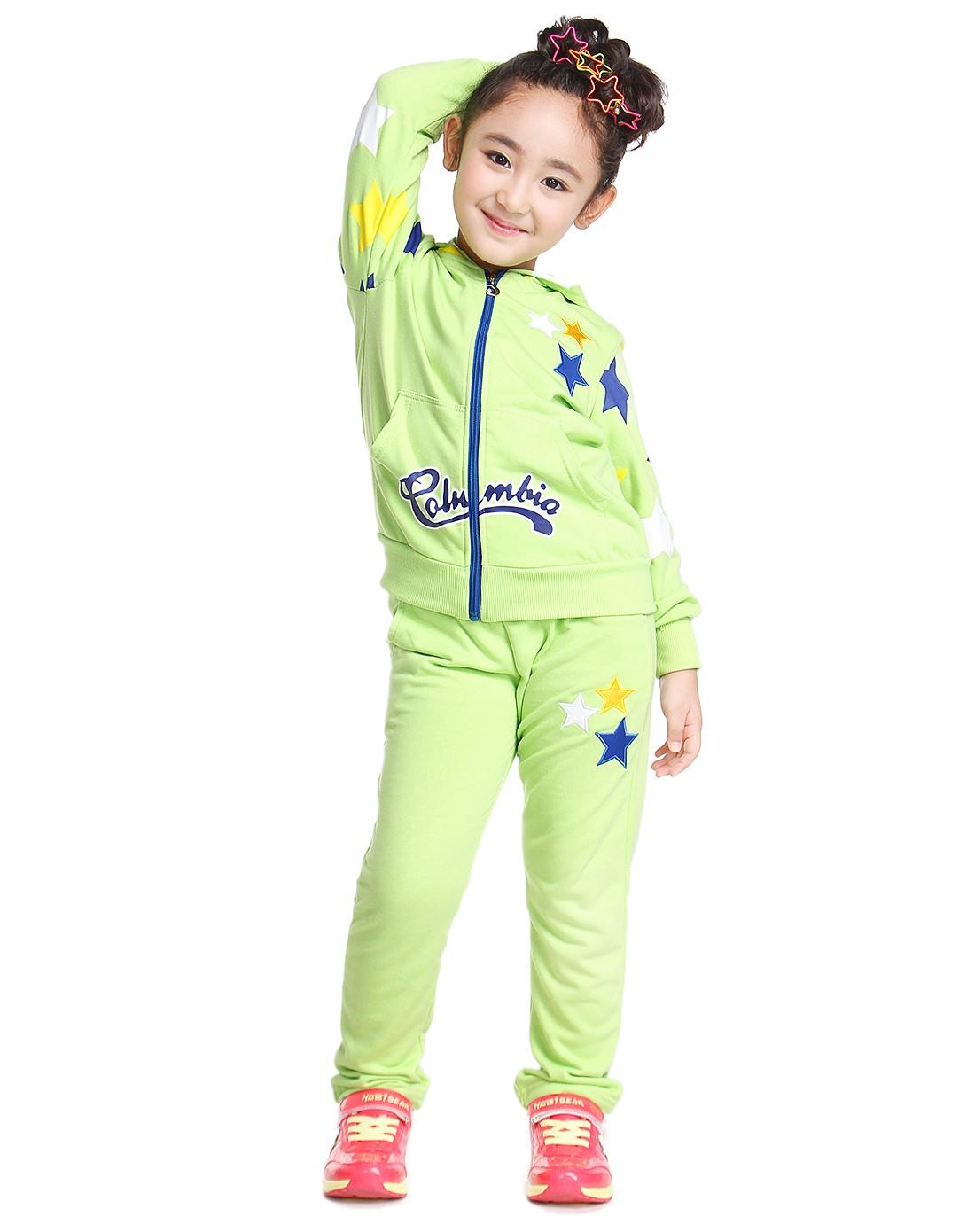 女童荧光绿儿童运动服