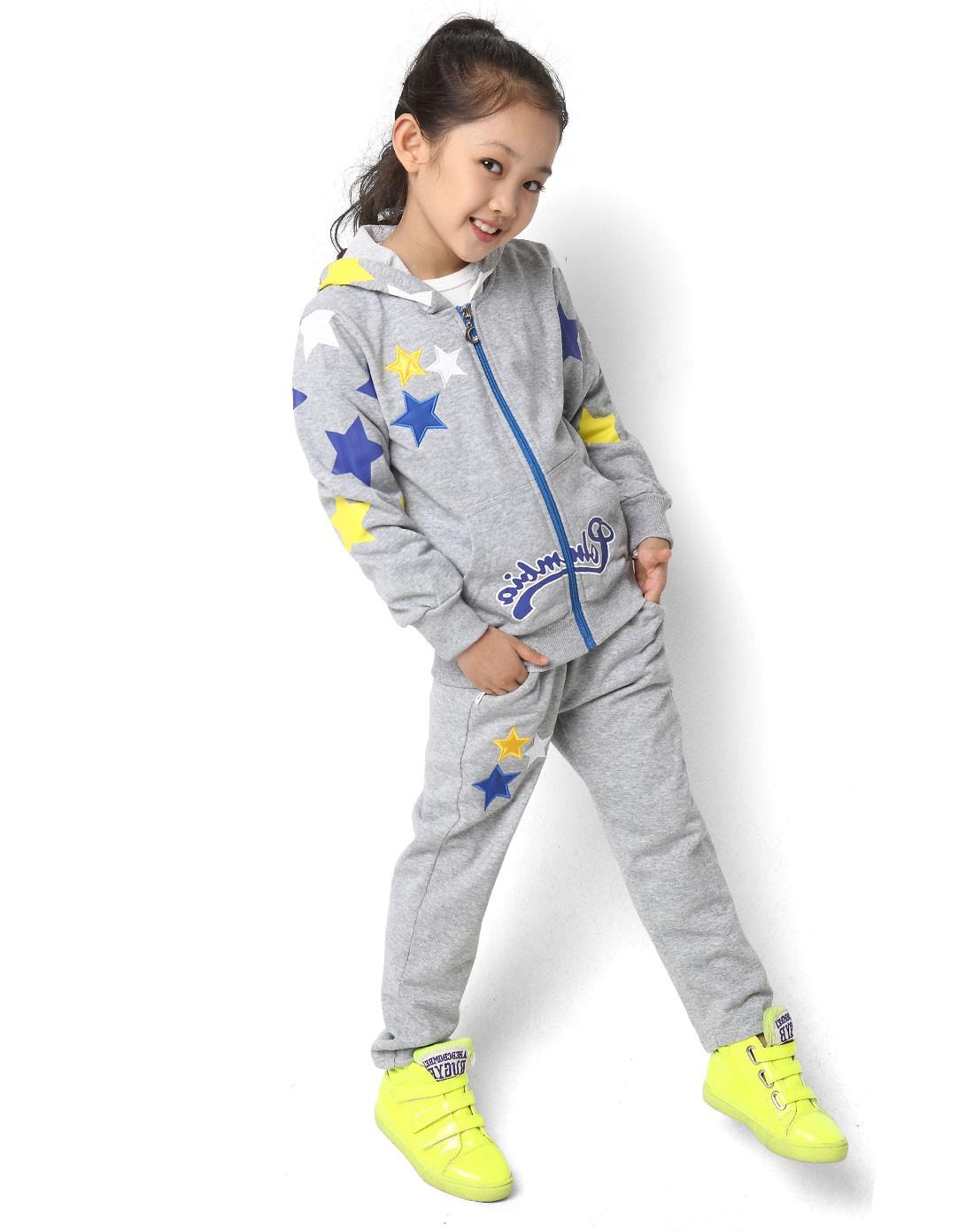 女童灰色儿童运动服