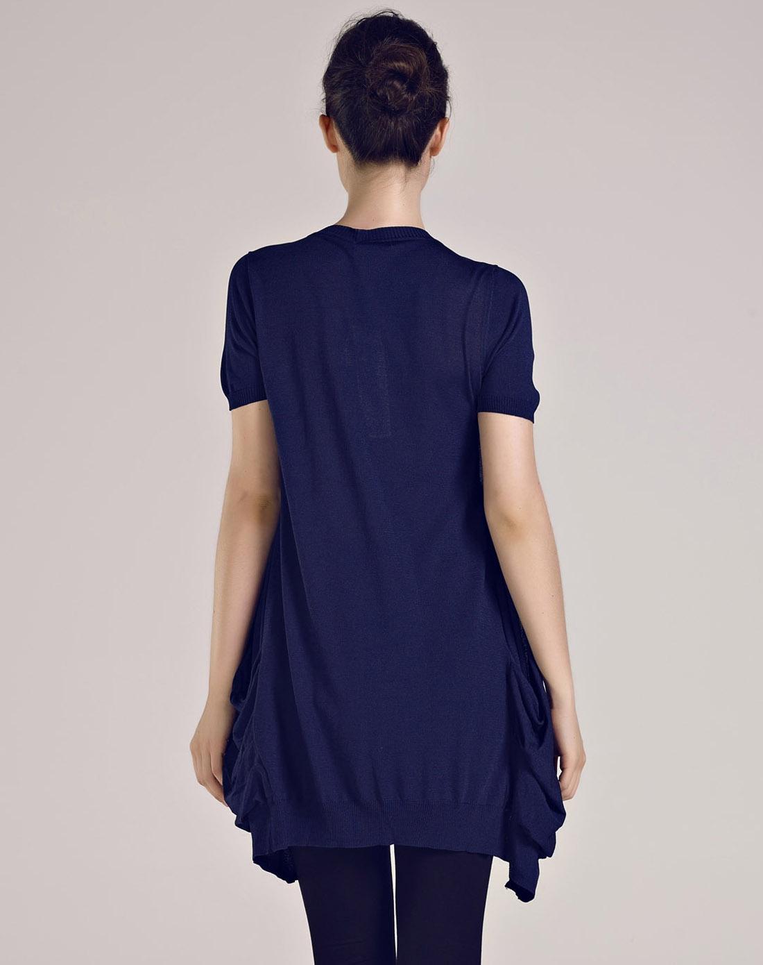 印花拼接假两件藏青色短袖针织上衣