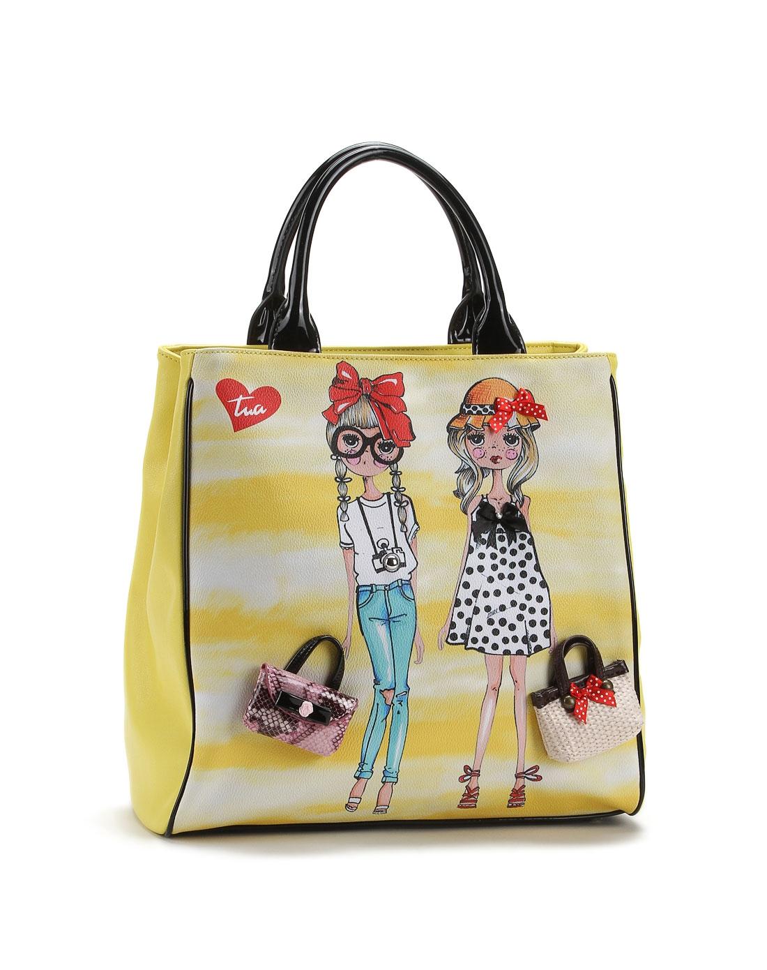 黄色可爱女孩绘图时尚手提包