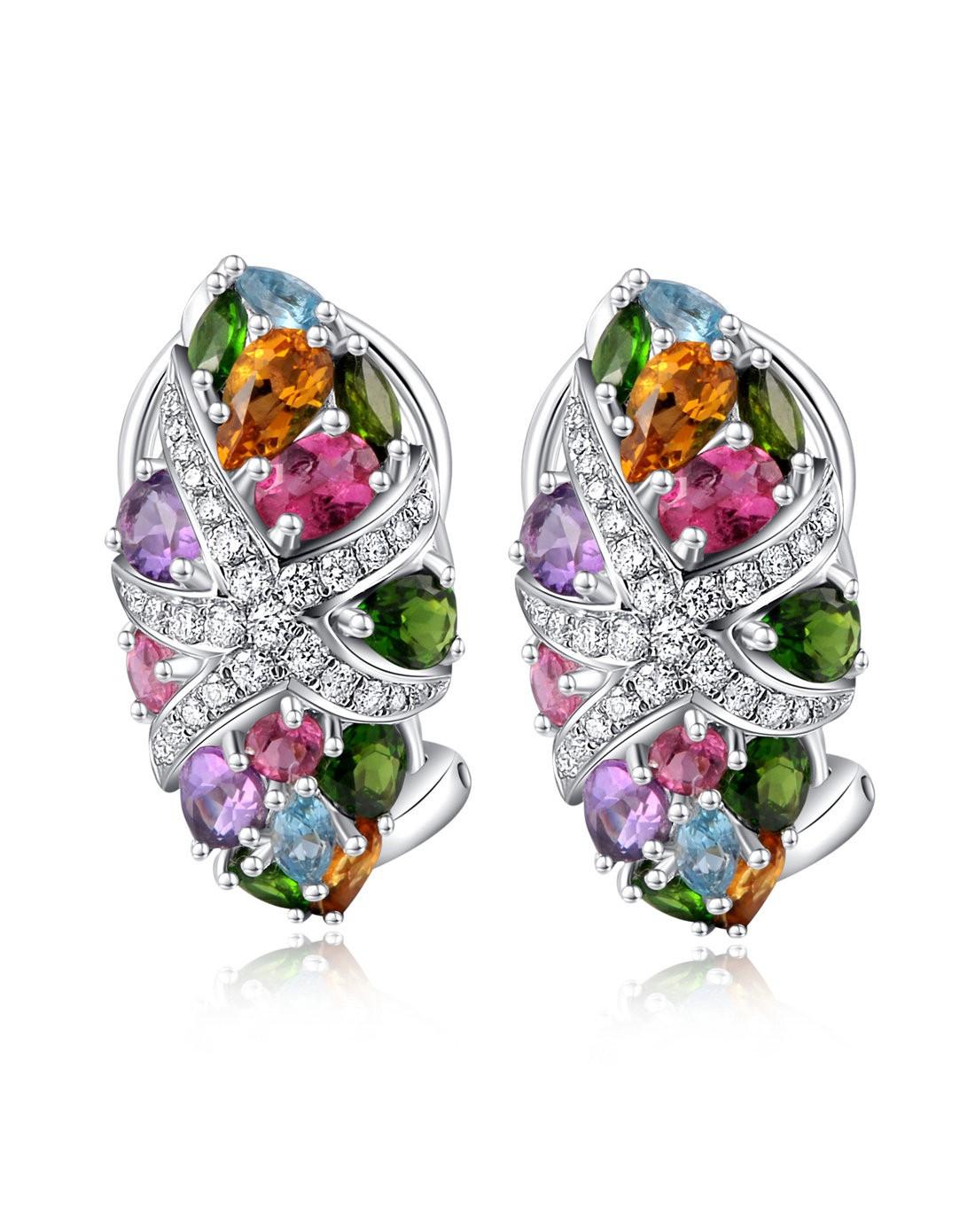 enzo珠宝专场-华丽18k白金天然彩宝镶钻海星耳环