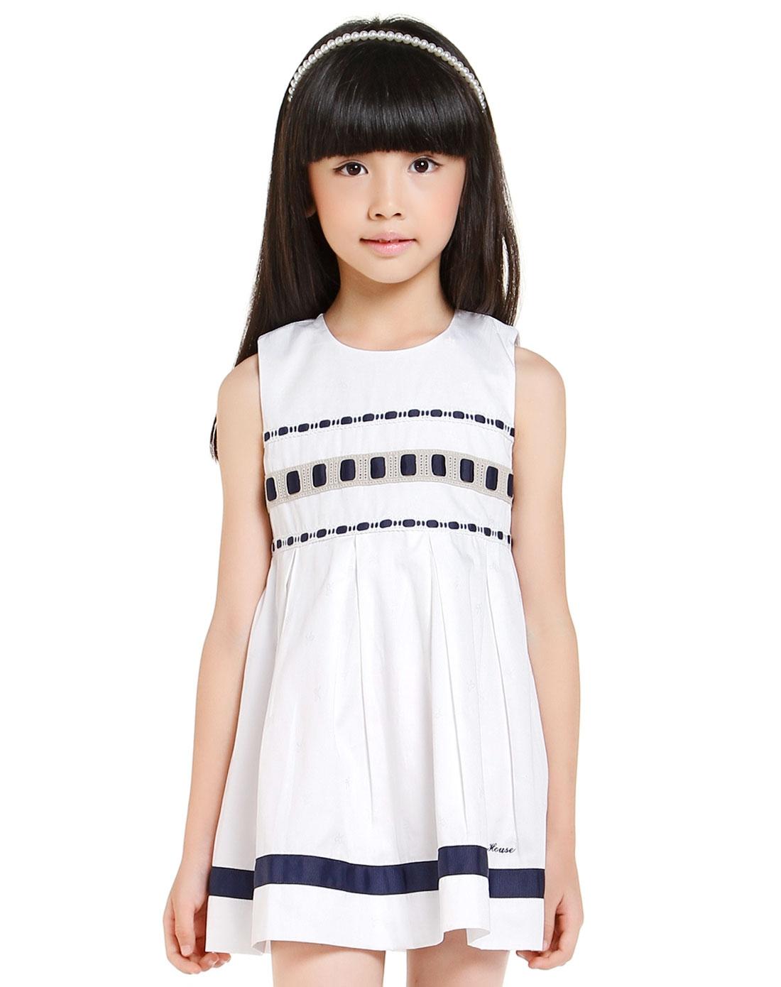 无袖跺(h��ފ9_女童气质可爱白色无袖连衣裙