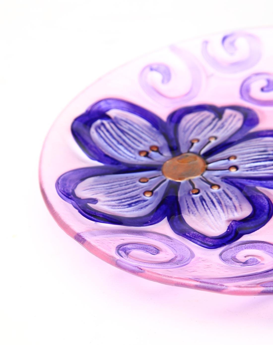 > 10英寸圆形花朵热熔手绘玻璃大果盘