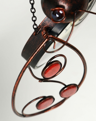 > 热熔手绘玻璃 铁艺外框温度计/壁挂-甲壳虫a