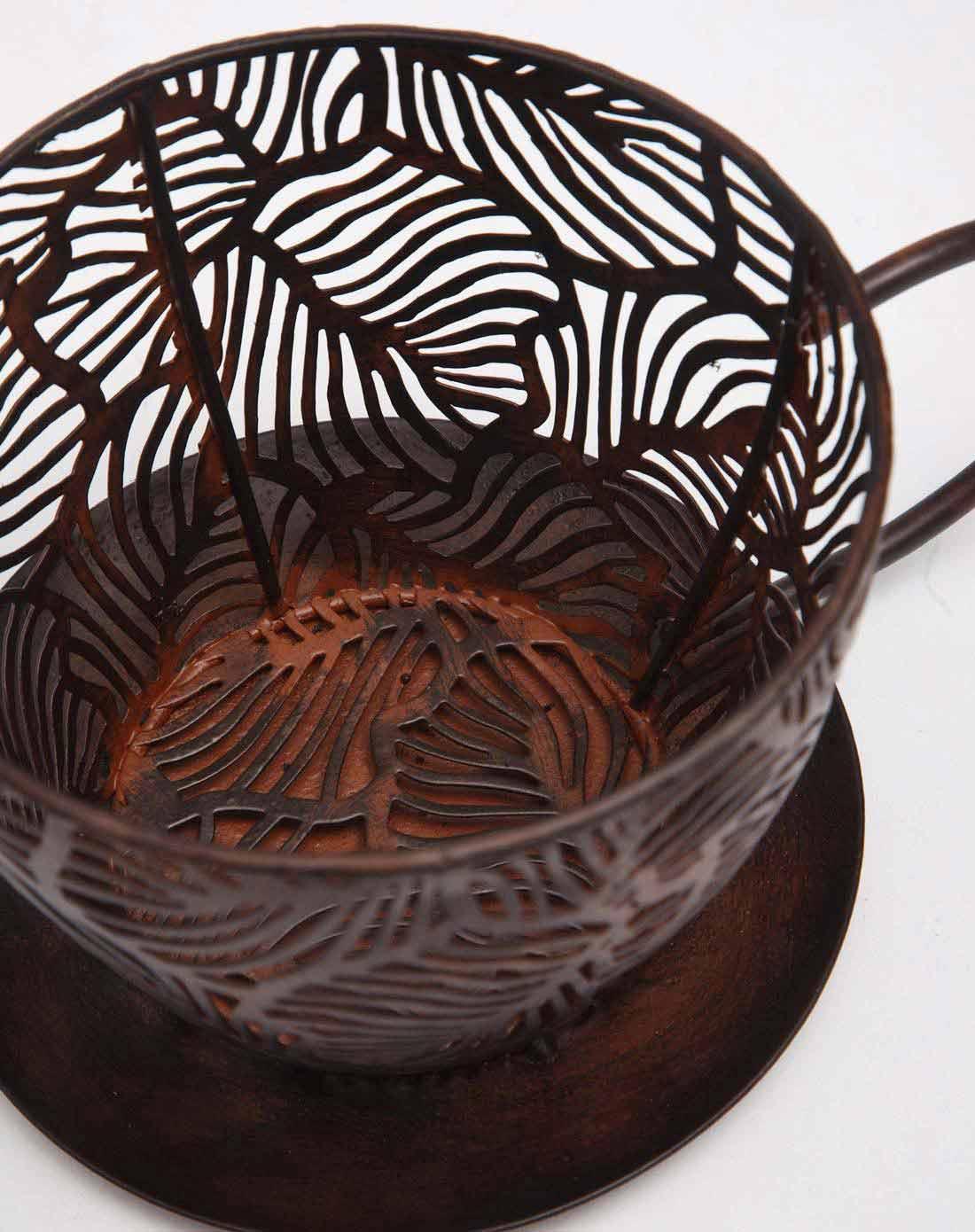 > 黑色树叶纹铁艺咖啡杯造型花盆架