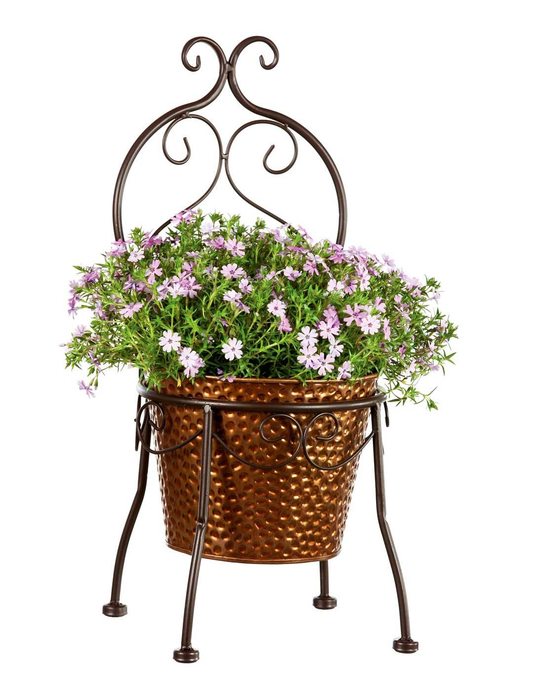 > 铁艺复古宫廷椅装饰花盆架(不含植物)