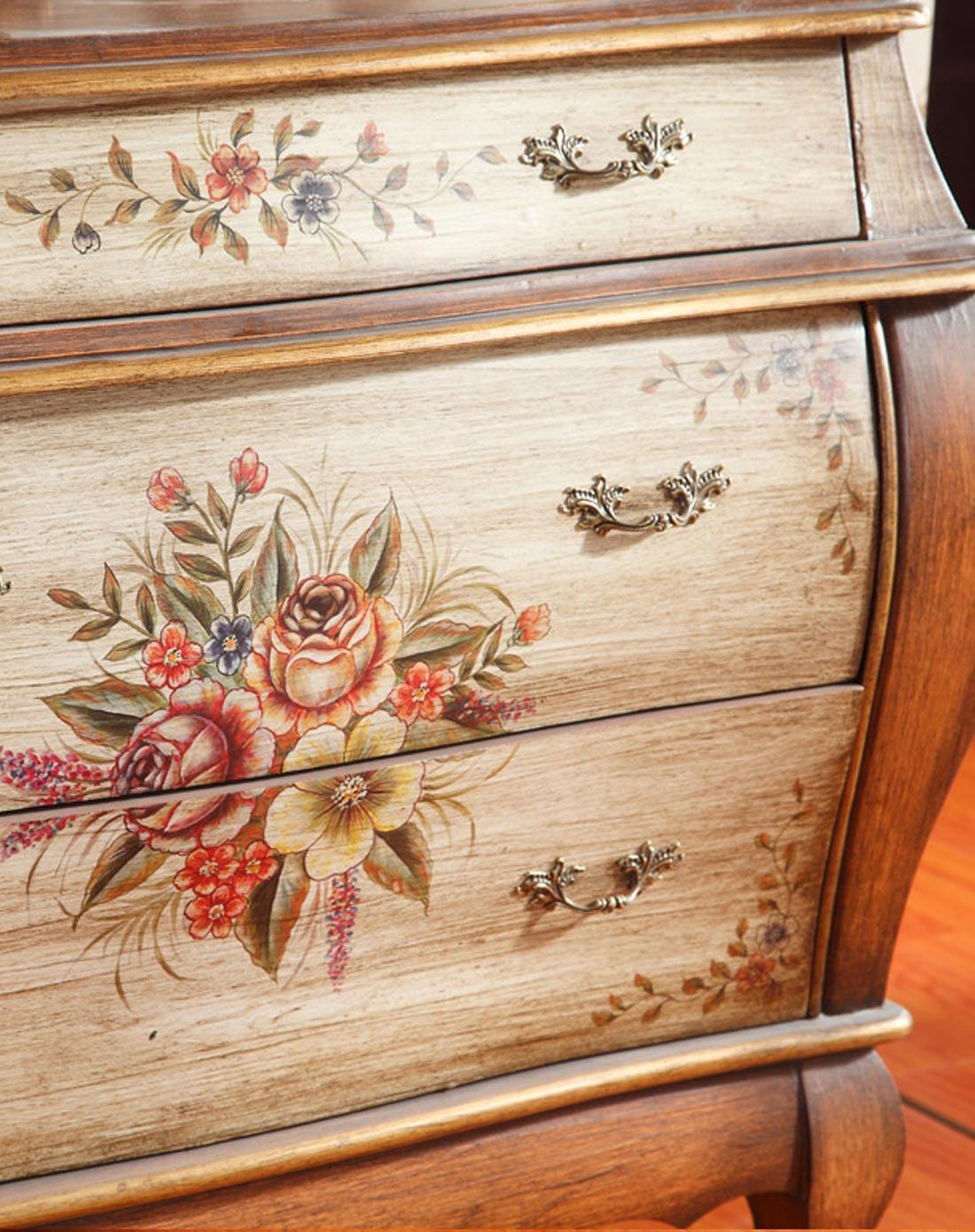 时光宝盒美式手绘玄关柜