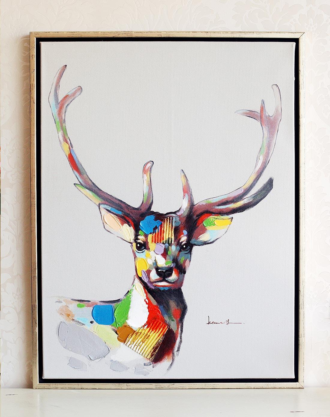 麋鹿客厅手工油画装饰画挂画壁画