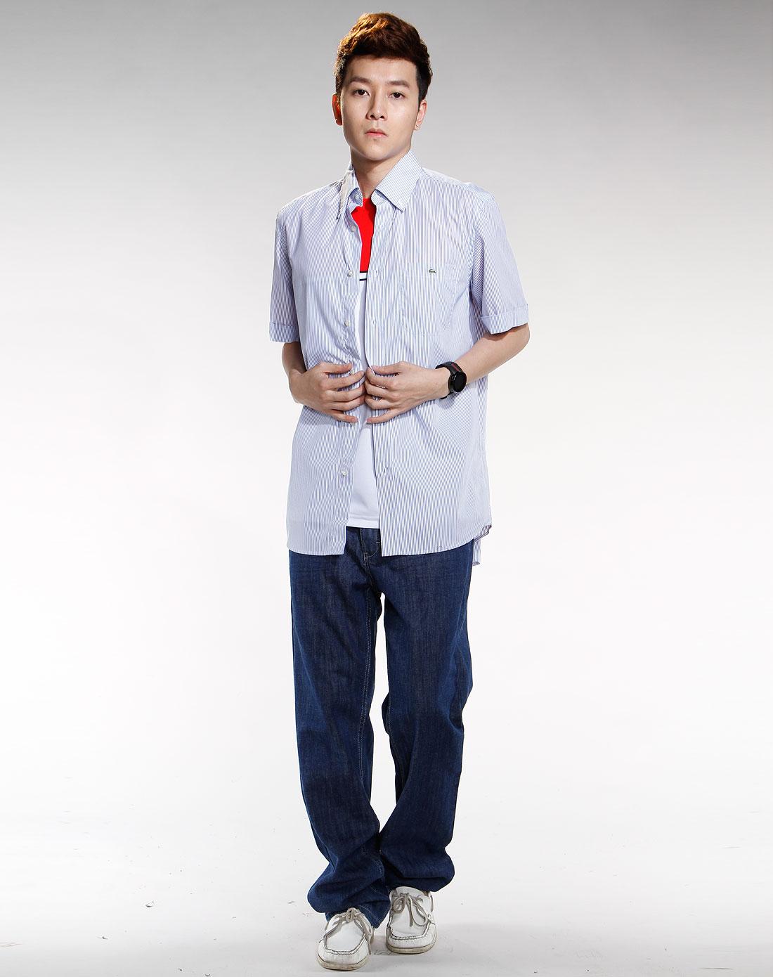 鳄鱼lacoste 男款蓝/白色竖条纹时尚衬衣