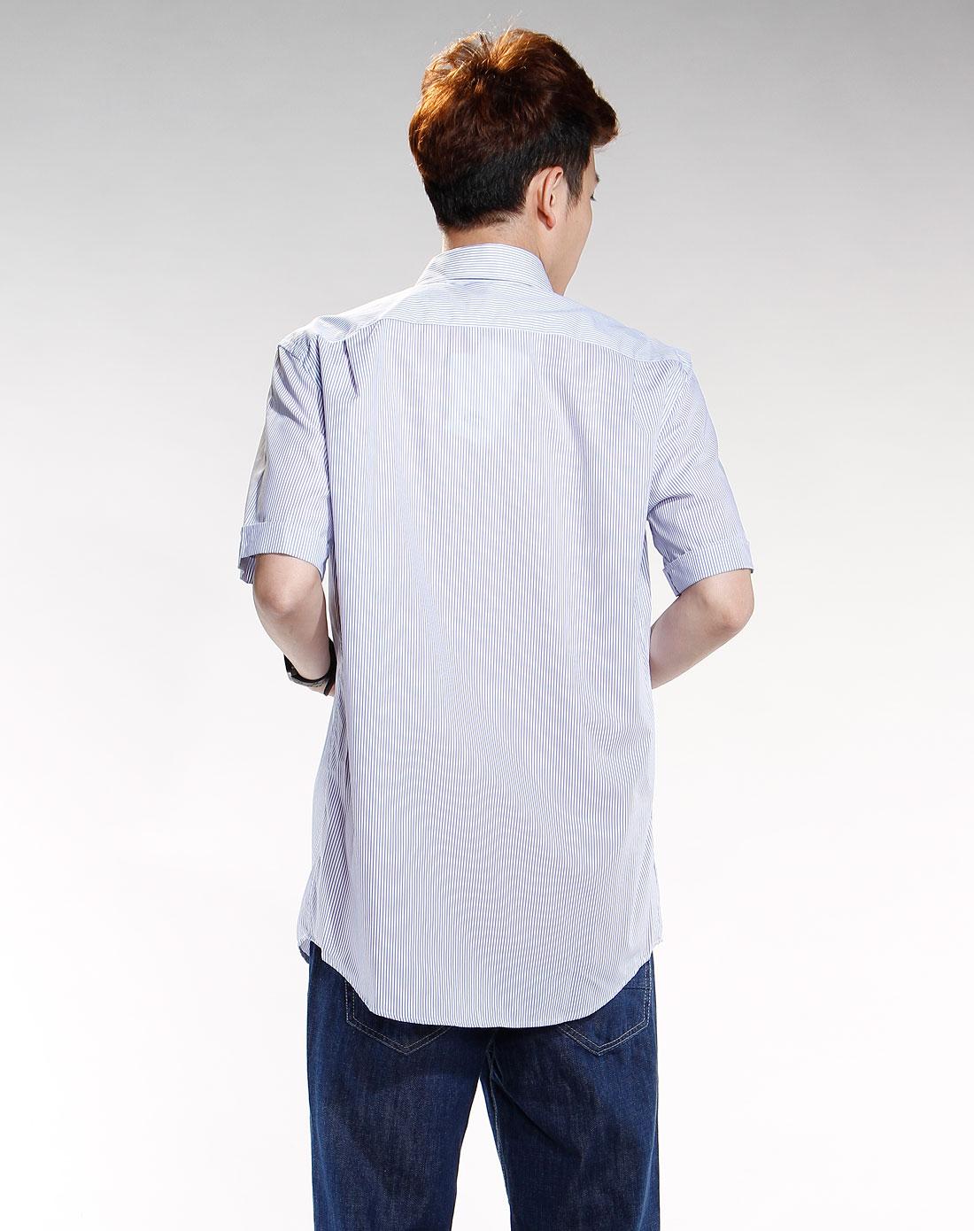 鳄鱼lacoste 男款蓝/白色竖条纹时尚衬衣 商品介绍