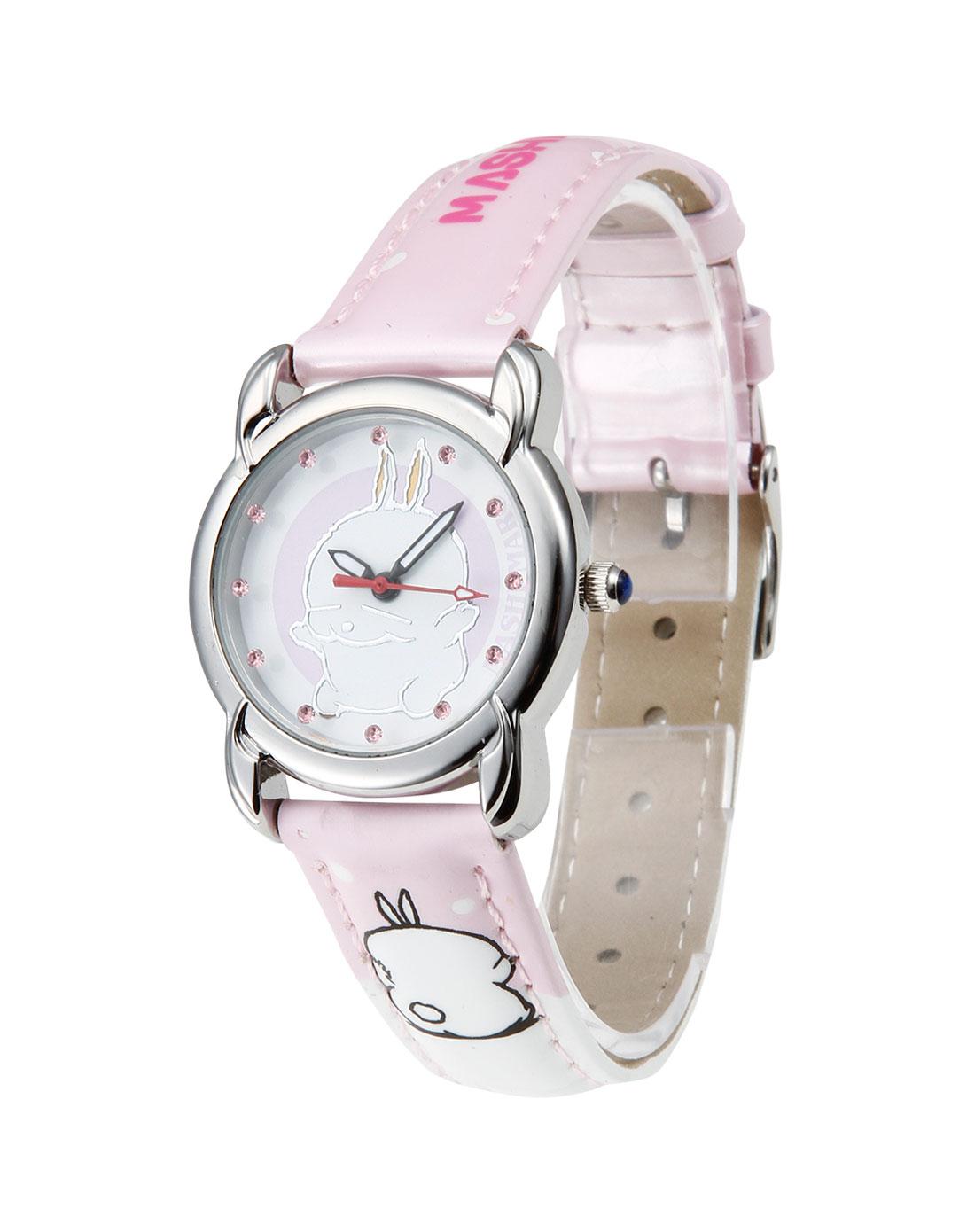 女款粉/白/银色卡通可爱简约石英手表