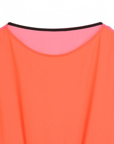 荧光桔红/粉色宽松拼接短袖上衣
