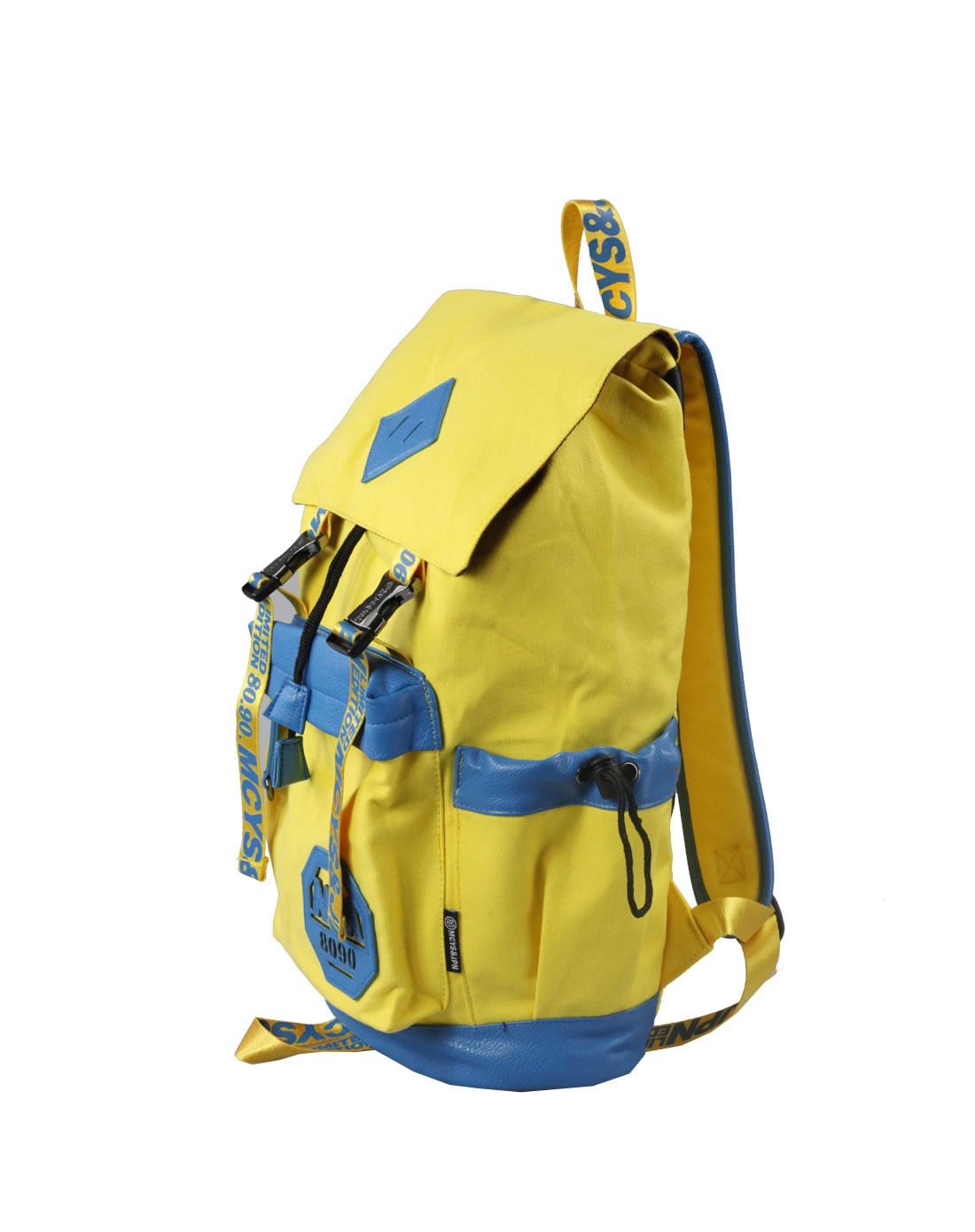 黄色设计感双肩包