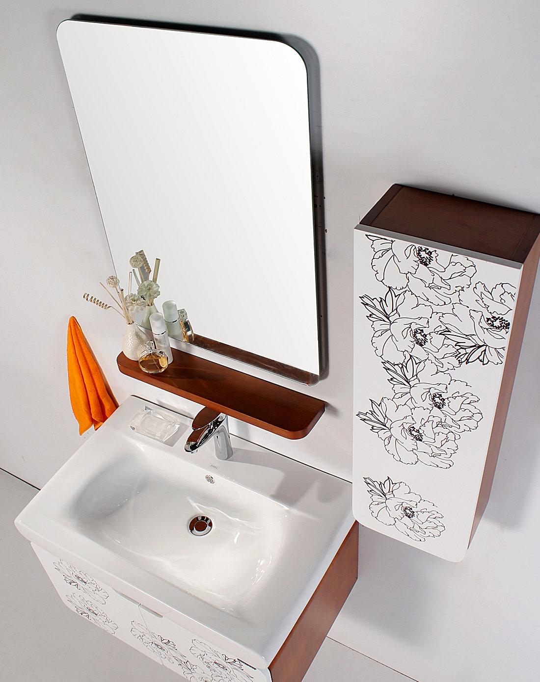 75米实木中式印花田园风格浴室柜带侧柜组合