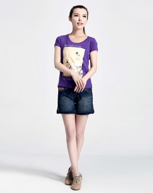 蓝色天空 水晶紫 女装相片印花t恤
