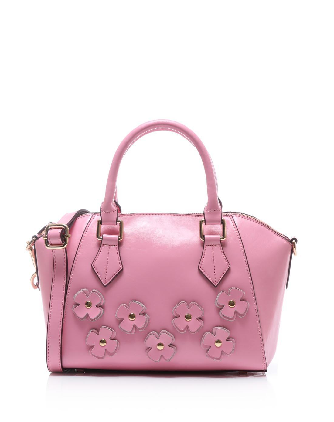时尚可爱粉色手提斜挎包
