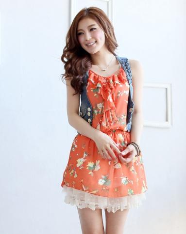 东京著衣橘/多色青春花俏雪纺吊带连衣裙