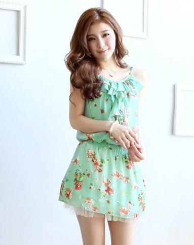 东京著衣绿/多色青春花俏雪纺吊带连衣裙