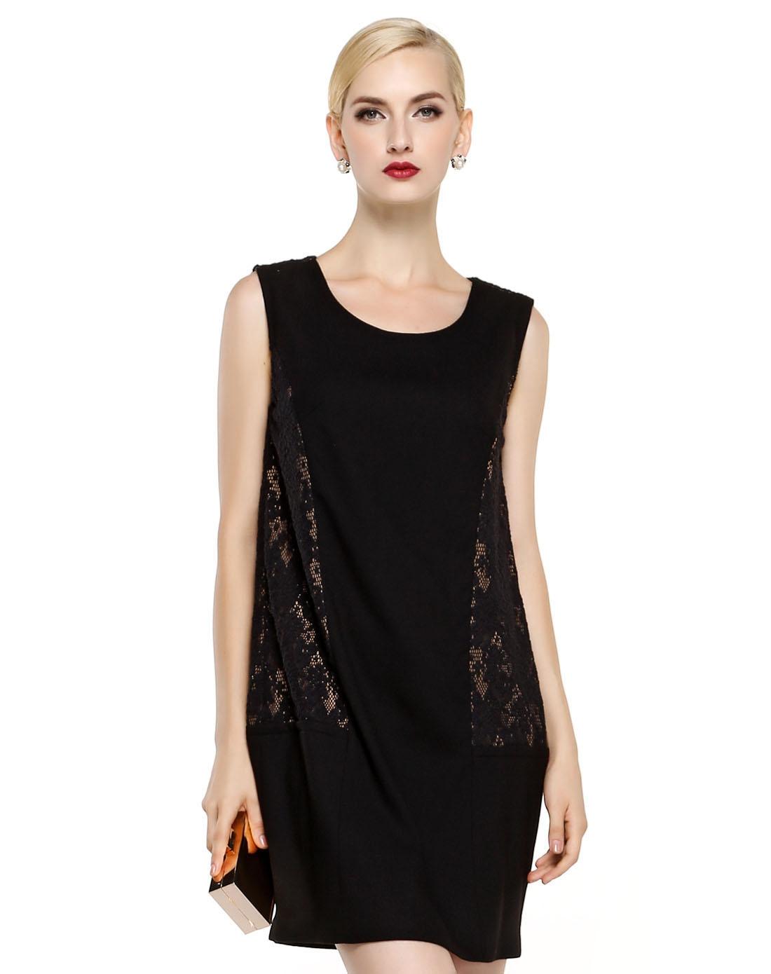 无袖跺(h��ފ9_黑色蕾丝拼接无袖连衣裙