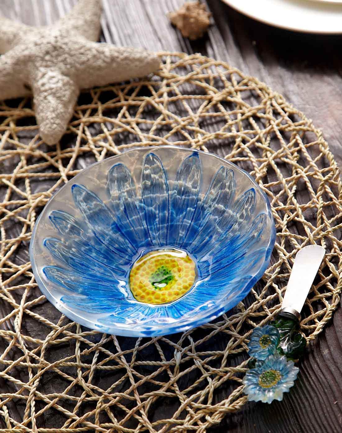 清新雏菊美式热熔手绘玻璃果盘 花型奶酪刀套装