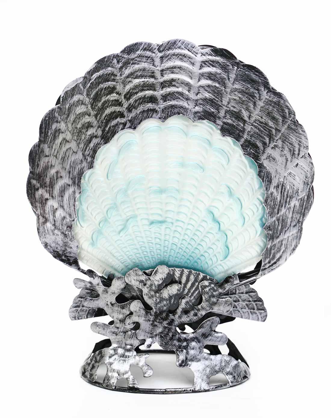 > 美式手绘热熔玻璃 铁艺混搭创意装饰灯-海洋贝壳