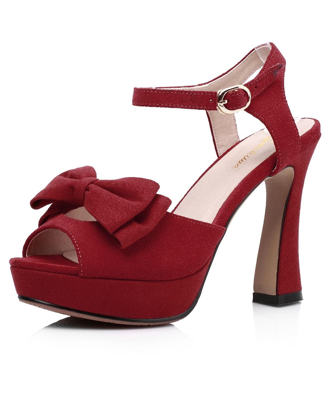 14年新款女红色高跟真皮蝴蝶结凉鞋