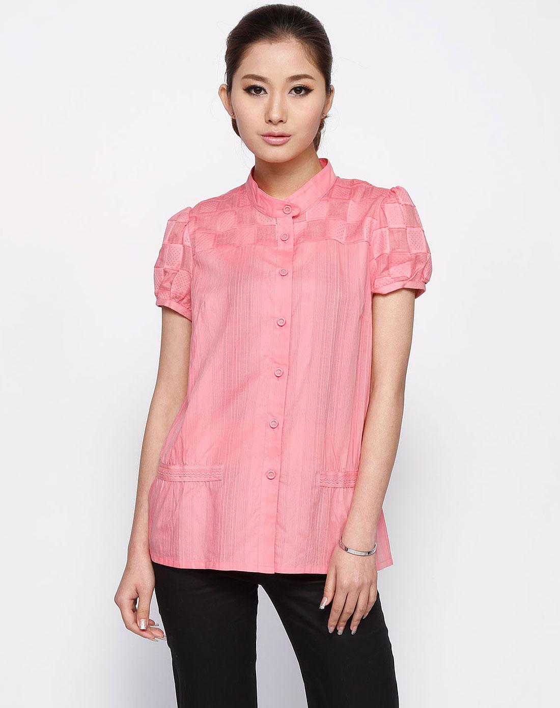 惠粉红_女款粉红色短袖衬衫