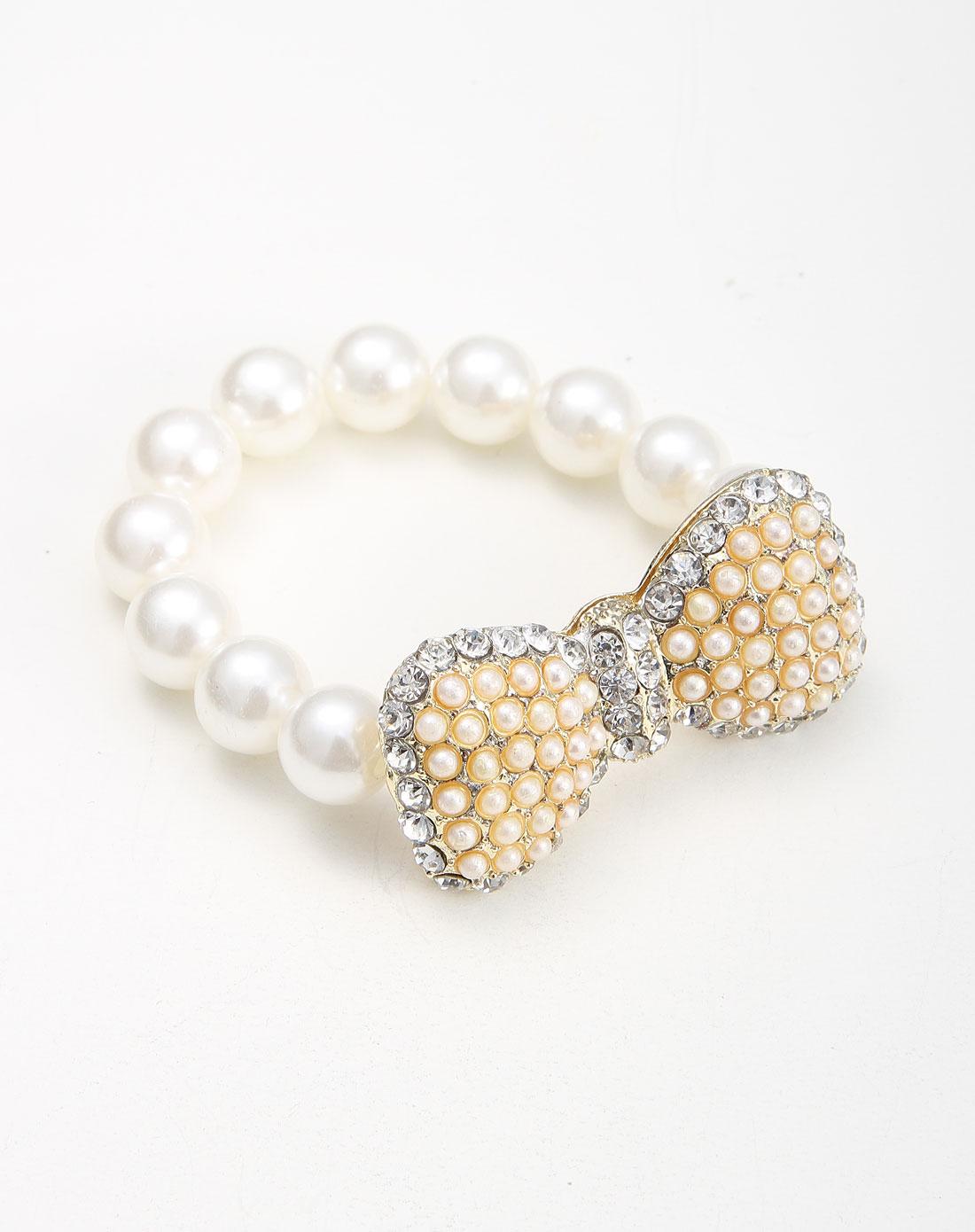 白/金色水晶珍珠可爱蝴蝶结手链