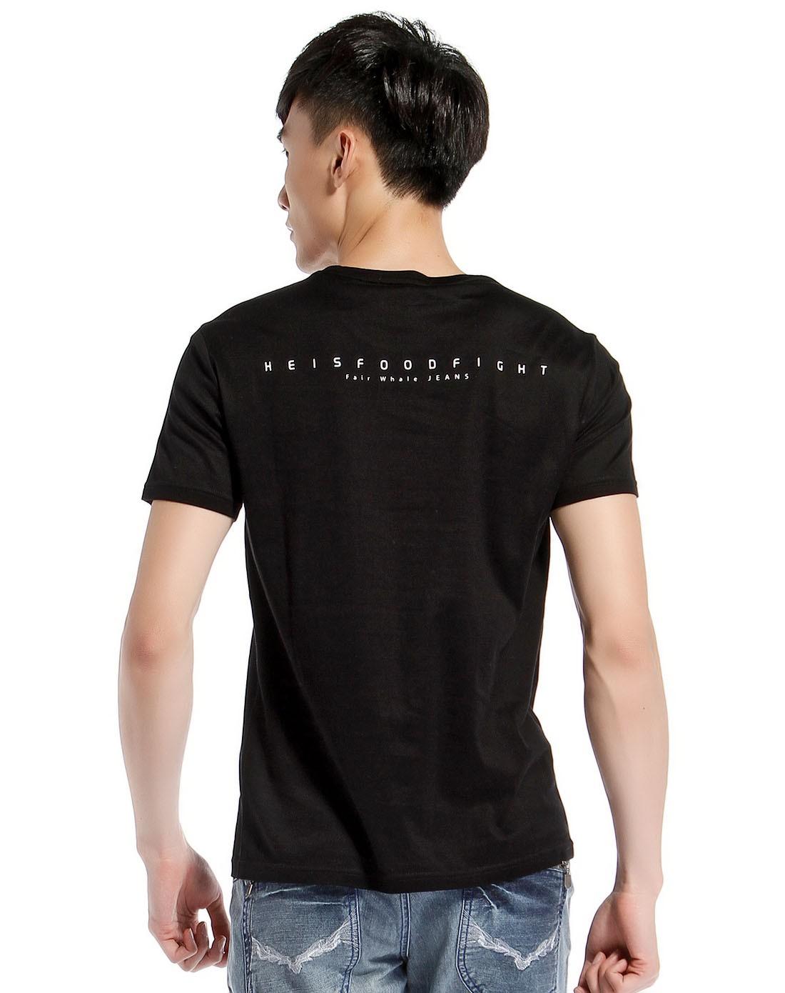 时尚欧风模特印图短袖黑色t恤