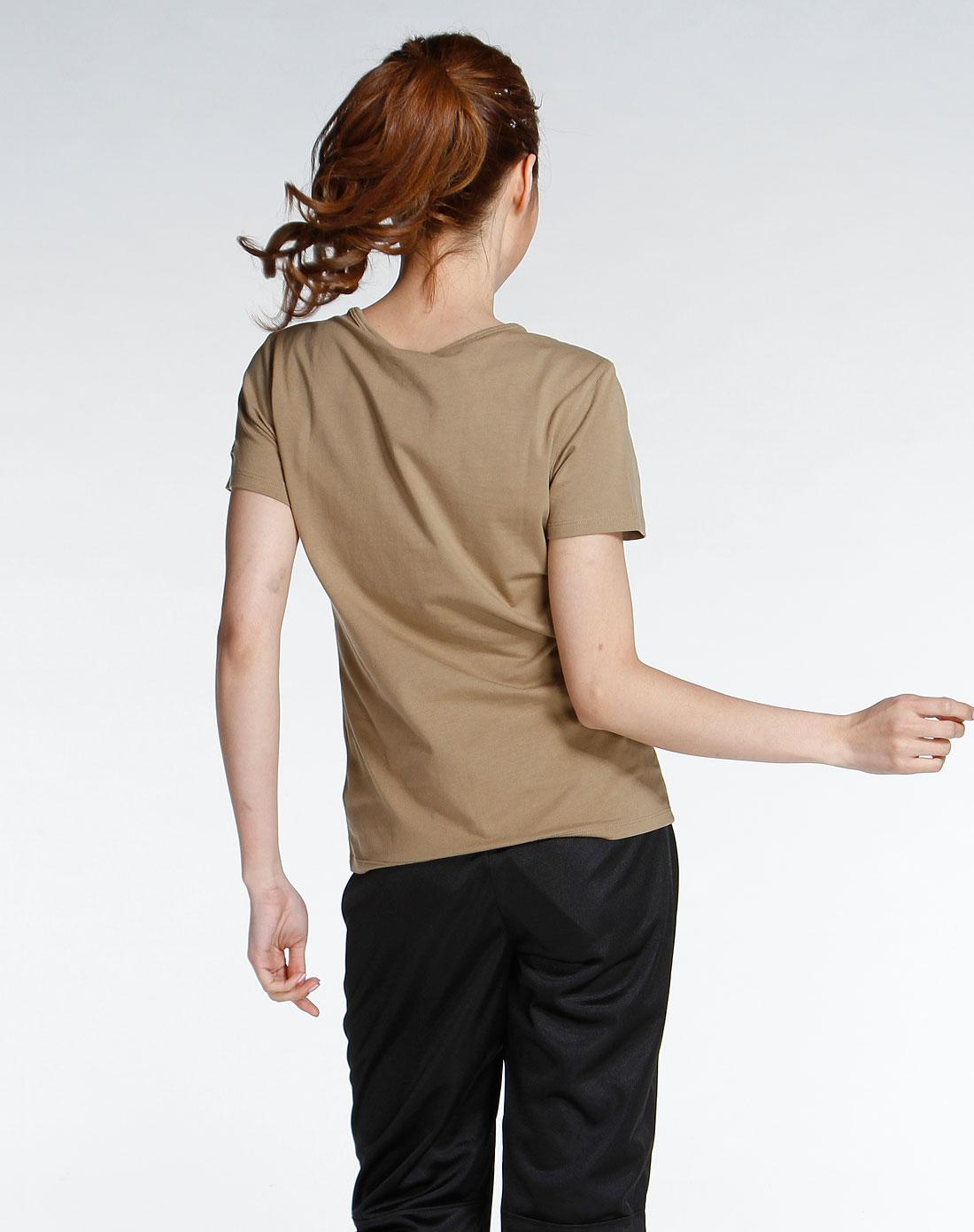 sp 女款橄榄绿色v领烫印图短袖t恤